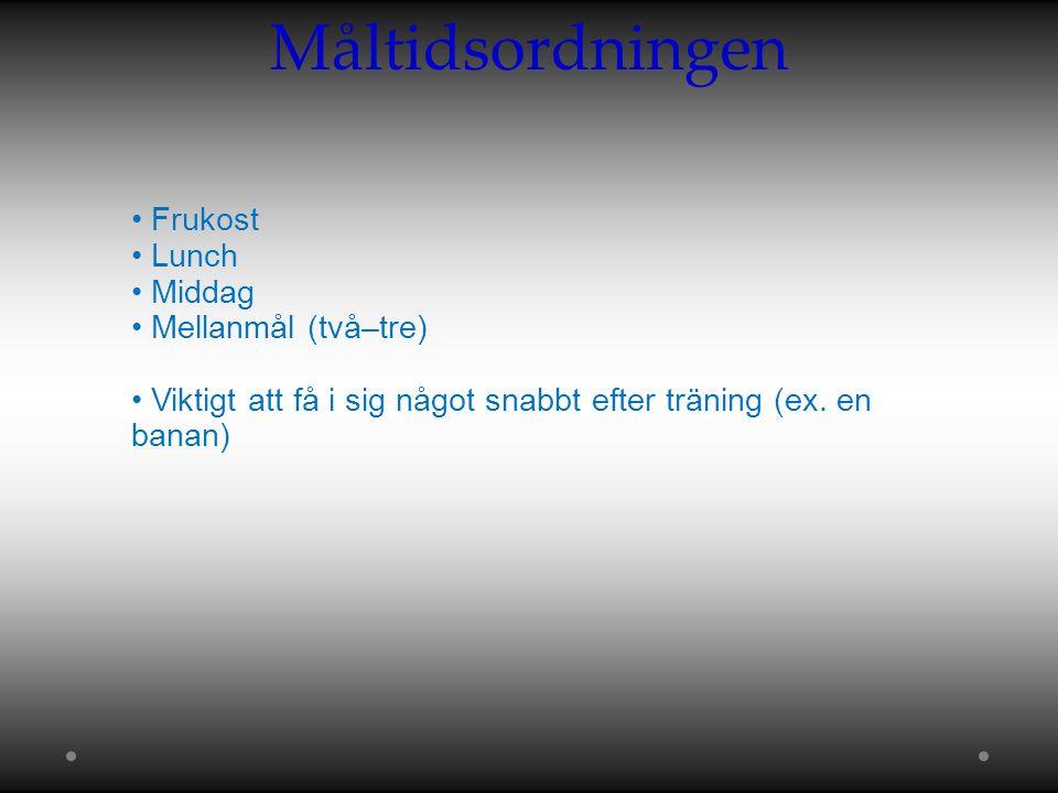 Måltidsordningen Frukost Lunch Middag Mellanmål (två–tre) Viktigt att få i sig något snabbt efter träning (ex.