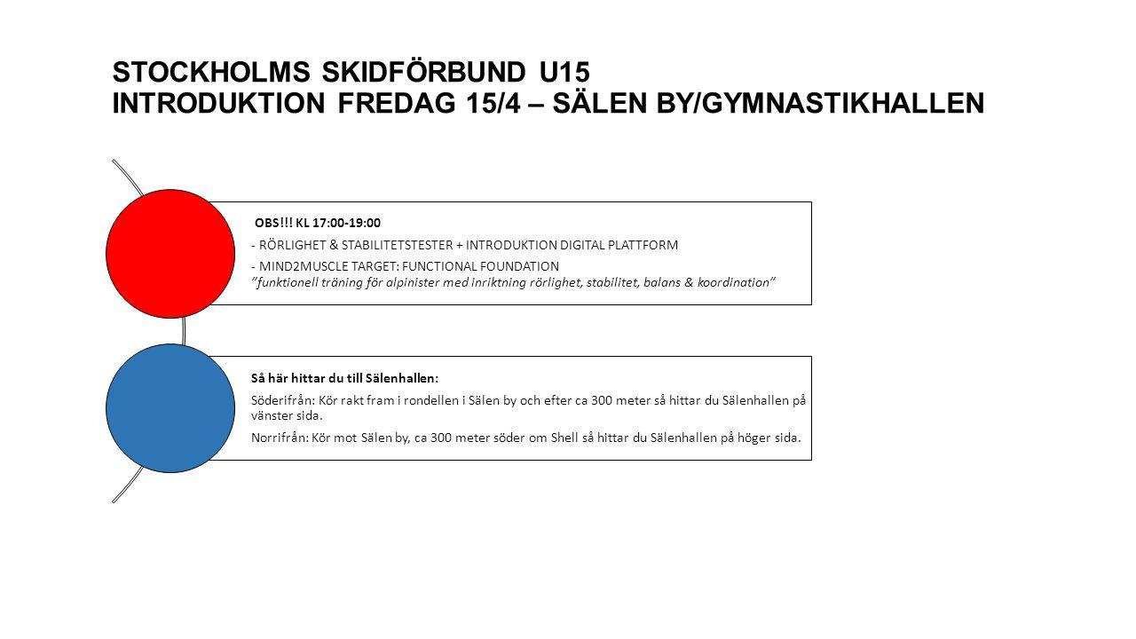 STOCKHOLMS SKIDFÖRBUND U15 TRÄNINGSTILLFÄLLE 4 – SÖNDAG 23 OKTOBER kl 10:00-13:00 GRUPP: U15 - RÖRLIGHET & STABILITETSTESTER + GENOMGÅNG AV ÅTGÄRDSPROGRAM (45 MIN) + INDIVIDUELL DIGITAL FEEDBACK (INKL.