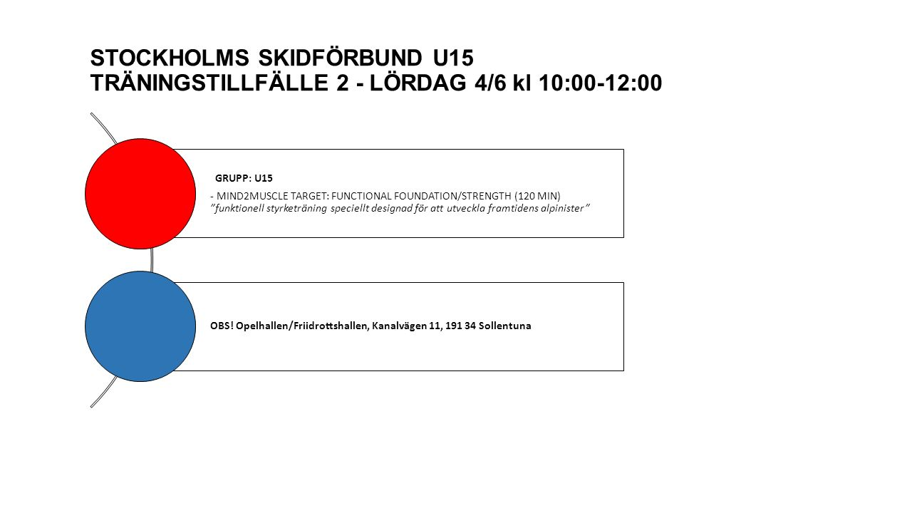 "STOCKHOLMS SKIDFÖRBUND U15 TRÄNINGSTILLFÄLLE 2 - LÖRDAG 4/6 kl 10:00-12:00 GRUPP: U15 - MIND2MUSCLE TARGET: FUNCTIONAL FOUNDATION/STRENGTH (120 MIN) """