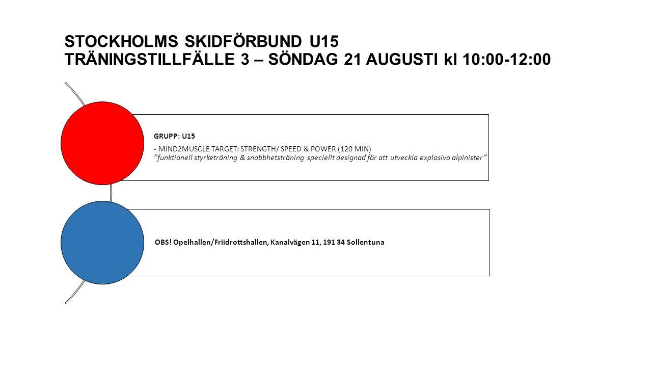 STOCKHOLMS SKIDFÖRBUND U15 TRÄNINGSTILLFÄLLE 3 – SÖNDAG 21 AUGUSTI kl 10:00-12:00 GRUPP: U15 - MIND2MUSCLE TARGET: STRENGTH/ SPEED & POWER (120 MIN) funktionell styrketräning & snabbhetsträning speciellt designad för att utveckla explosiva alpinister OBS.
