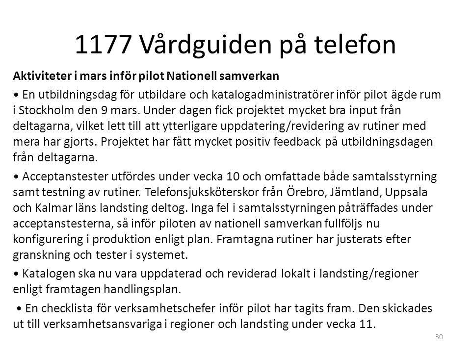 1177 Vårdguiden på telefon 30 Aktiviteter i mars inför pilot Nationell samverkan En utbildningsdag för utbildare och katalogadministratörer inför pilot ägde rum i Stockholm den 9 mars.