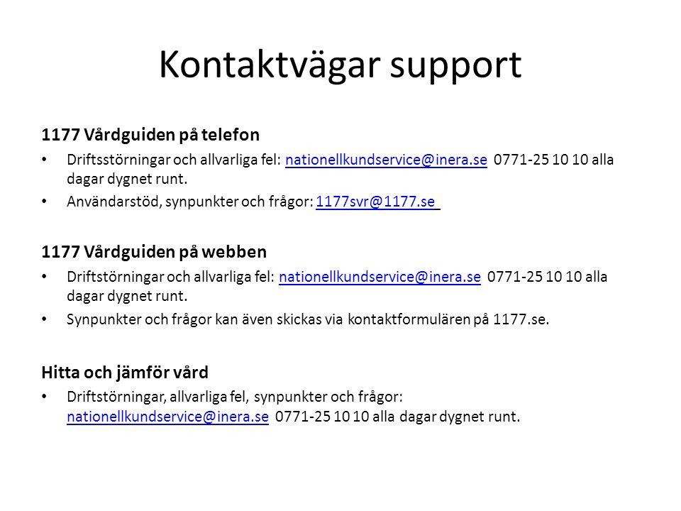 Kontaktvägar support 1177 Vårdguiden på telefon Driftsstörningar och allvarliga fel: nationellkundservice@inera.se 0771-25 10 10 alla dagar dygnet runt.nationellkundservice@inera.se Användarstöd, synpunkter och frågor: 1177svr@1177.se 1177svr@1177.se 1177 Vårdguiden på webben Driftstörningar och allvarliga fel: nationellkundservice@inera.se 0771-25 10 10 alla dagar dygnet runt.nationellkundservice@inera.se Synpunkter och frågor kan även skickas via kontaktformulären på 1177.se.