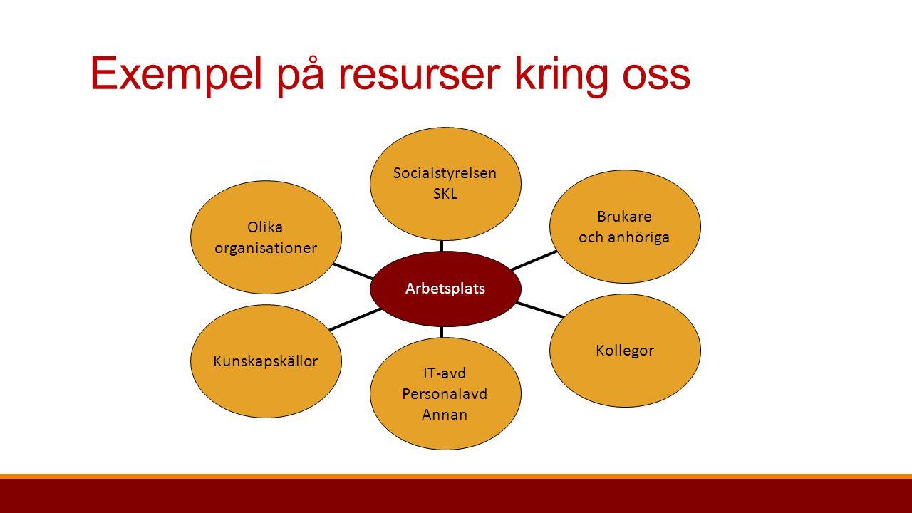 Exempel på resurser kring oss Kollegor Brukare och anhöriga Kunskapskällor IT-avd Personalavd Annan Socialstyrelsen SKL Olika organisationer Arbetsplats