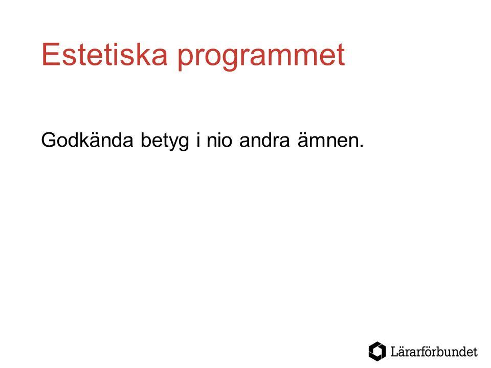 Estetiska programmet Godkända betyg i nio andra ämnen.