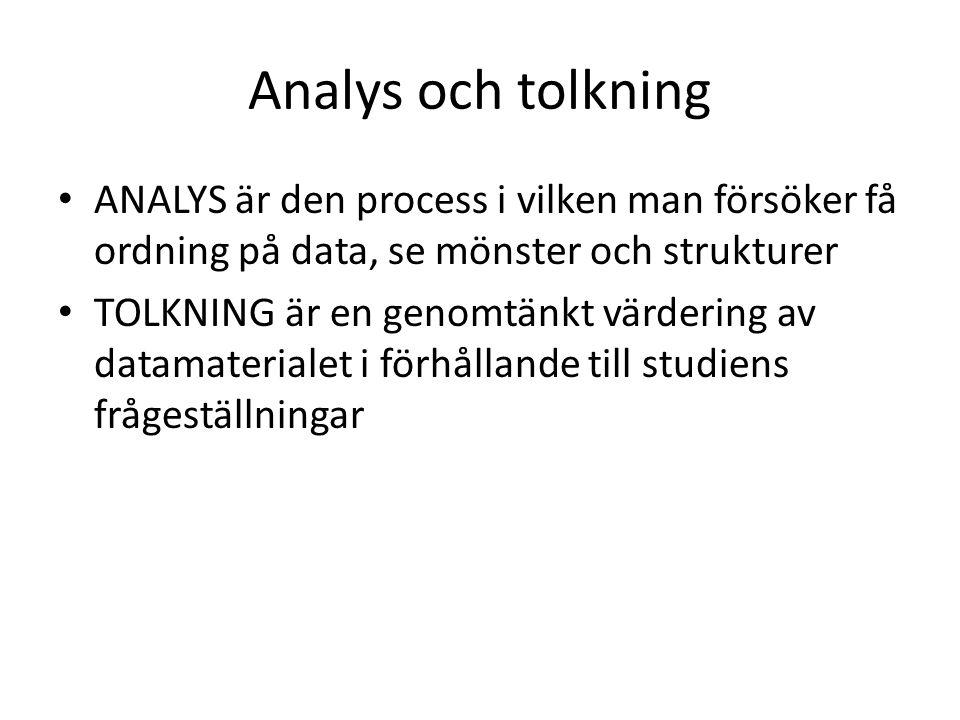 Analys och tolkning ANALYS är den process i vilken man försöker få ordning på data, se mönster och strukturer TOLKNING är en genomtänkt värdering av datamaterialet i förhållande till studiens frågeställningar