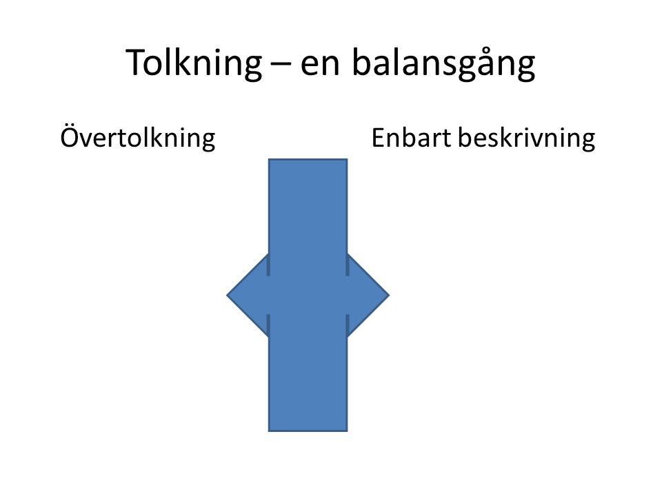 Tolkning – en balansgång ÖvertolkningEnbart beskrivning