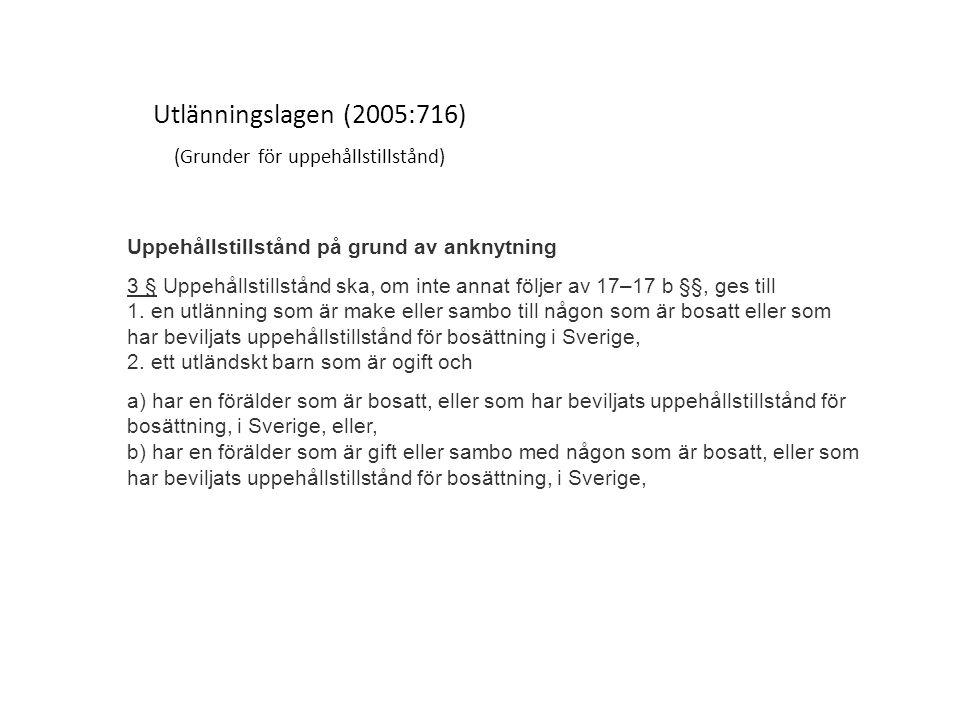 Utlänningslagen (2005:716) (Grunder för uppehållstillstånd) Uppehållstillstånd på grund av anknytning 3 § Uppehållstillstånd ska, om inte annat följer av 17–17 b §§, ges till 1.
