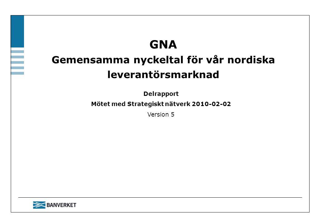 GNA Gemensamma nyckeltal för vår nordiska leverantörsmarknad Delrapport Mötet med Strategiskt nätverk 2010-02-02 Version 5