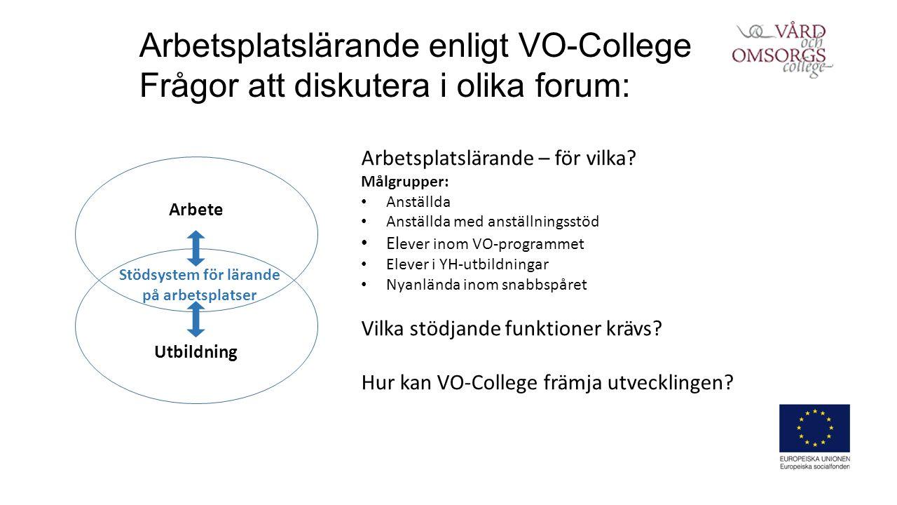 Arbetsplatslärande enligt VO-College Frågor att diskutera i olika forum: Arbetsplatslärande – för vilka.