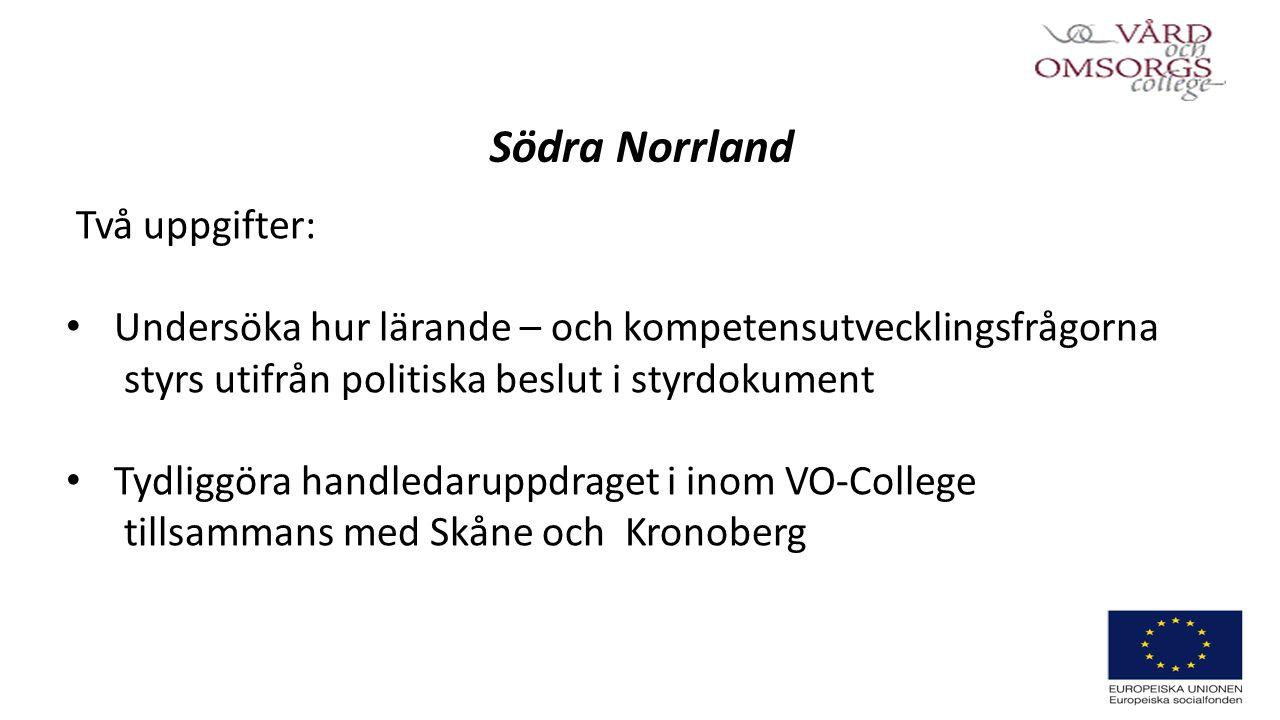 Södra Norrland Två uppgifter: Undersöka hur lärande – och kompetensutvecklingsfrågorna styrs utifrån politiska beslut i styrdokument Tydliggöra handledaruppdraget i inom VO-College tillsammans med Skåne och Kronoberg