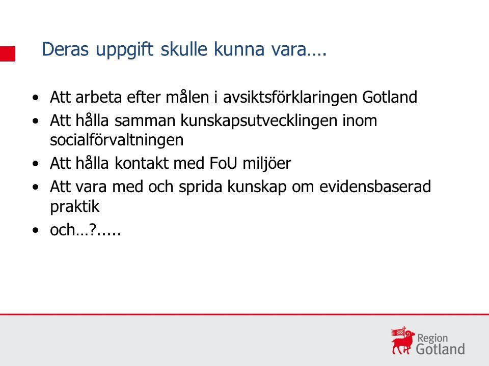 Att arbeta efter målen i avsiktsförklaringen Gotland Att hålla samman kunskapsutvecklingen inom socialförvaltningen Att hålla kontakt med FoU miljöer