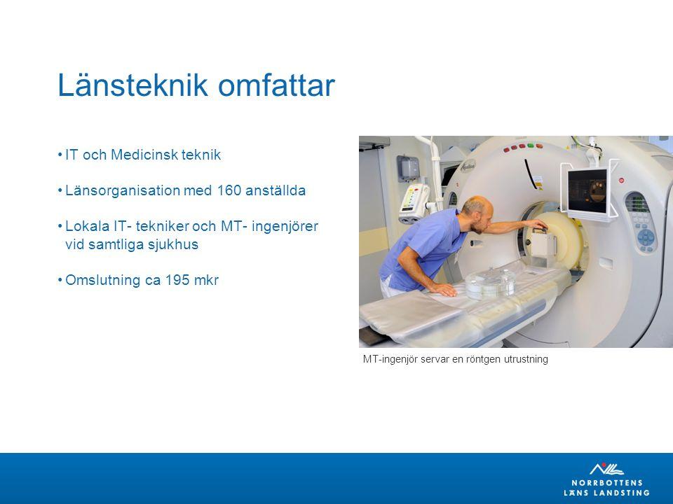 Länsteknik omfattar IT och Medicinsk teknik Länsorganisation med 160 anställda Lokala IT- tekniker och MT- ingenjörer vid samtliga sjukhus Omslutning ca 195 mkr MT-ingenjör servar en röntgen utrustning