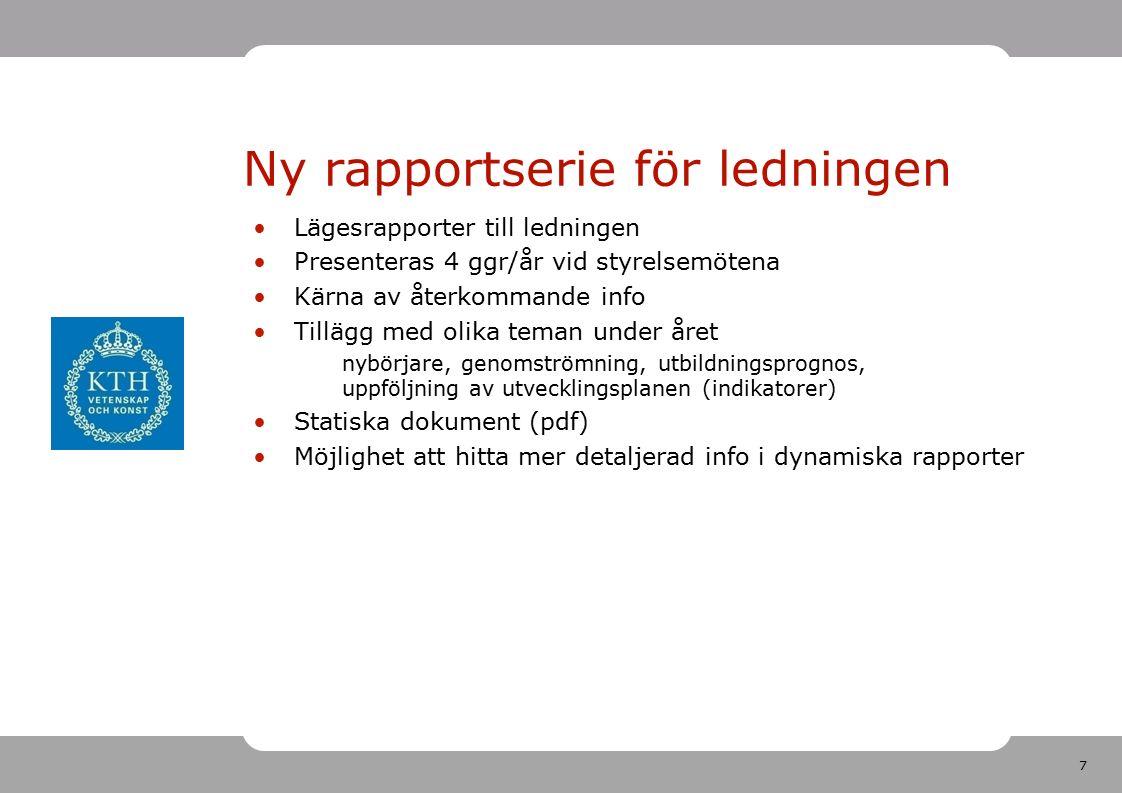 7 Ny rapportserie för ledningen Lägesrapporter till ledningen Presenteras 4 ggr/år vid styrelsemötena Kärna av återkommande info Tillägg med olika teman under året nybörjare, genomströmning, utbildningsprognos, uppföljning av utvecklingsplanen (indikatorer) Statiska dokument (pdf) Möjlighet att hitta mer detaljerad info i dynamiska rapporter
