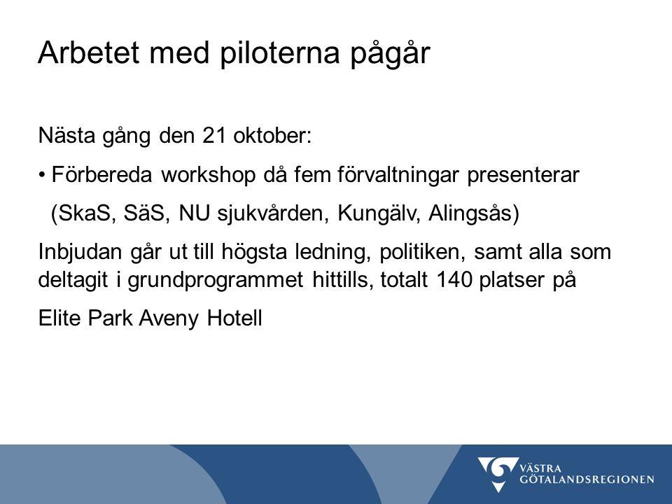 Arbetet med piloterna pågår Nästa gång den 21 oktober: Förbereda workshop då fem förvaltningar presenterar (SkaS, SäS, NU sjukvården, Kungälv, Alingsås) Inbjudan går ut till högsta ledning, politiken, samt alla som deltagit i grundprogrammet hittills, totalt 140 platser på Elite Park Aveny Hotell