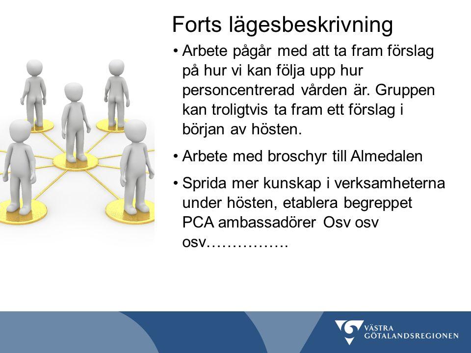Framgångsfaktorer En personcentrerad ledning (på alla nivåer) som ger tydliga mandat för utveckling En flexibilitet och vilja till att förändra strukturer Tid till utbildning Patientmedverkan Tid till reflektion