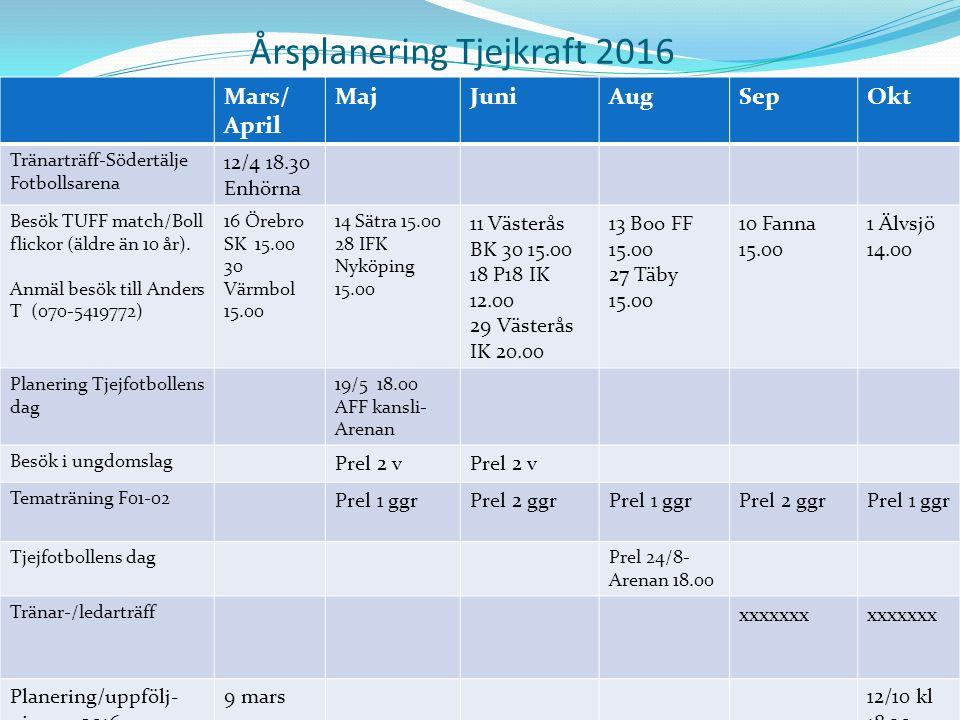 Årsplanering Tjejkraft 2016 Mars/ April MajJuniAugSepOkt Tränarträff-Södertälje Fotbollsarena 12/4 18.30 Enhörna Besök TUFF match/Boll flickor (äldre än 10 år).