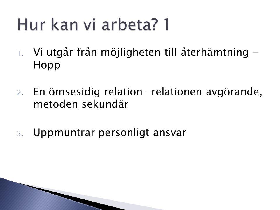 1. Vi utgår från möjligheten till återhämtning - Hopp 2.