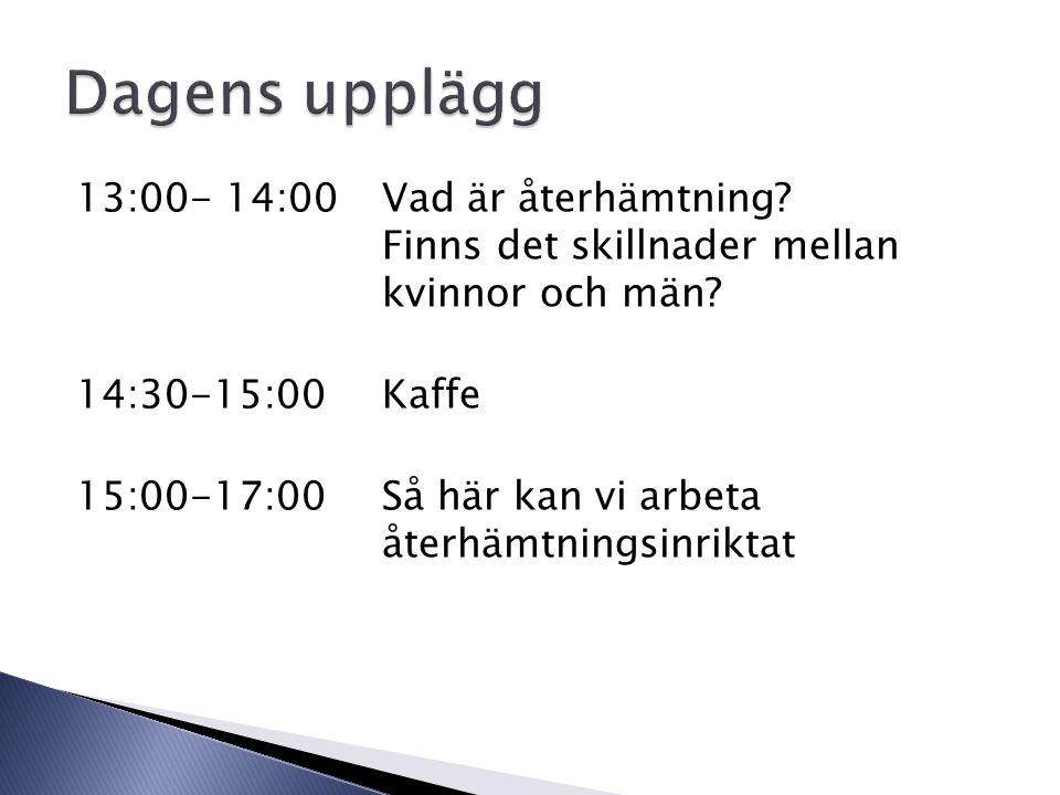 13:00- 14:00Vad är återhämtning. Finns det skillnader mellan kvinnor och män.