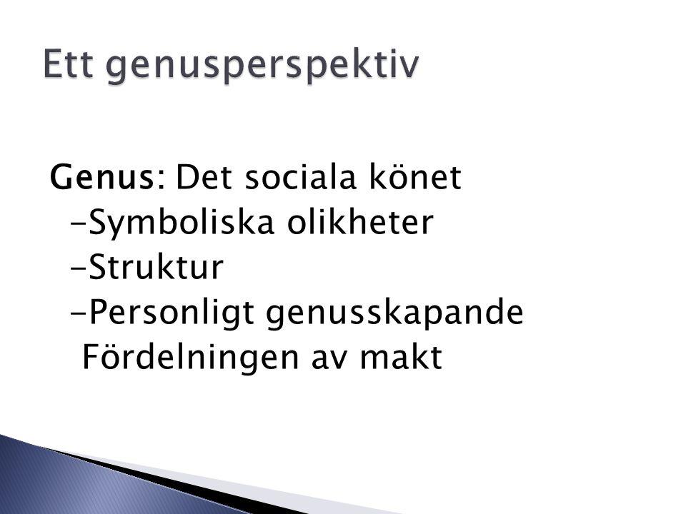 Genus: Det sociala könet -Symboliska olikheter -Struktur -Personligt genusskapande Fördelningen av makt