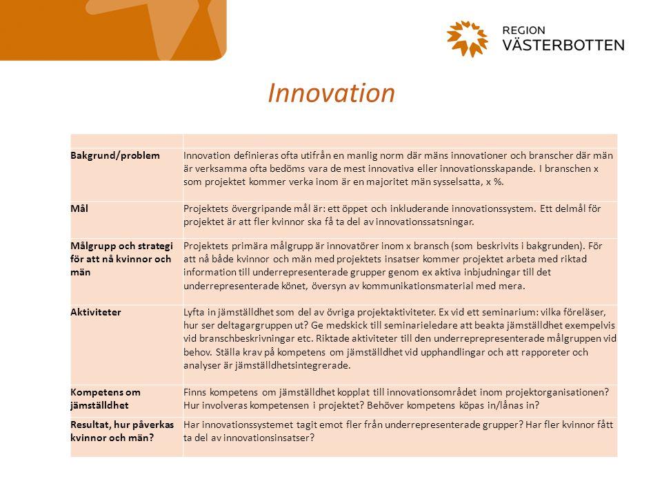 Innovation Bakgrund/problemInnovation definieras ofta utifrån en manlig norm där mäns innovationer och branscher där män är verksamma ofta bedöms vara de mest innovativa eller innovationsskapande.