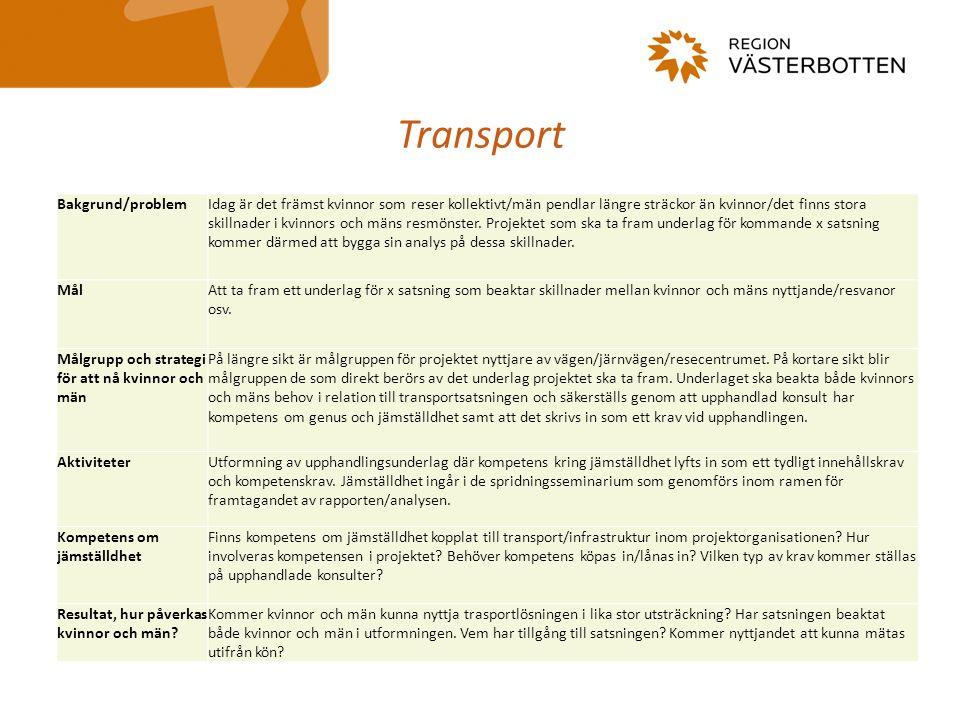 Transport Bakgrund/problemIdag är det främst kvinnor som reser kollektivt/män pendlar längre sträckor än kvinnor/det finns stora skillnader i kvinnors och mäns resmönster.