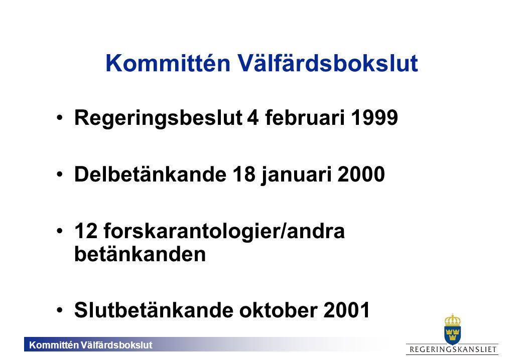 Kommittén Välfärdsbokslut Regeringsbeslut 4 februari 1999 Delbetänkande 18 januari 2000 12 forskarantologier/andra betänkanden Slutbetänkande oktober 2001