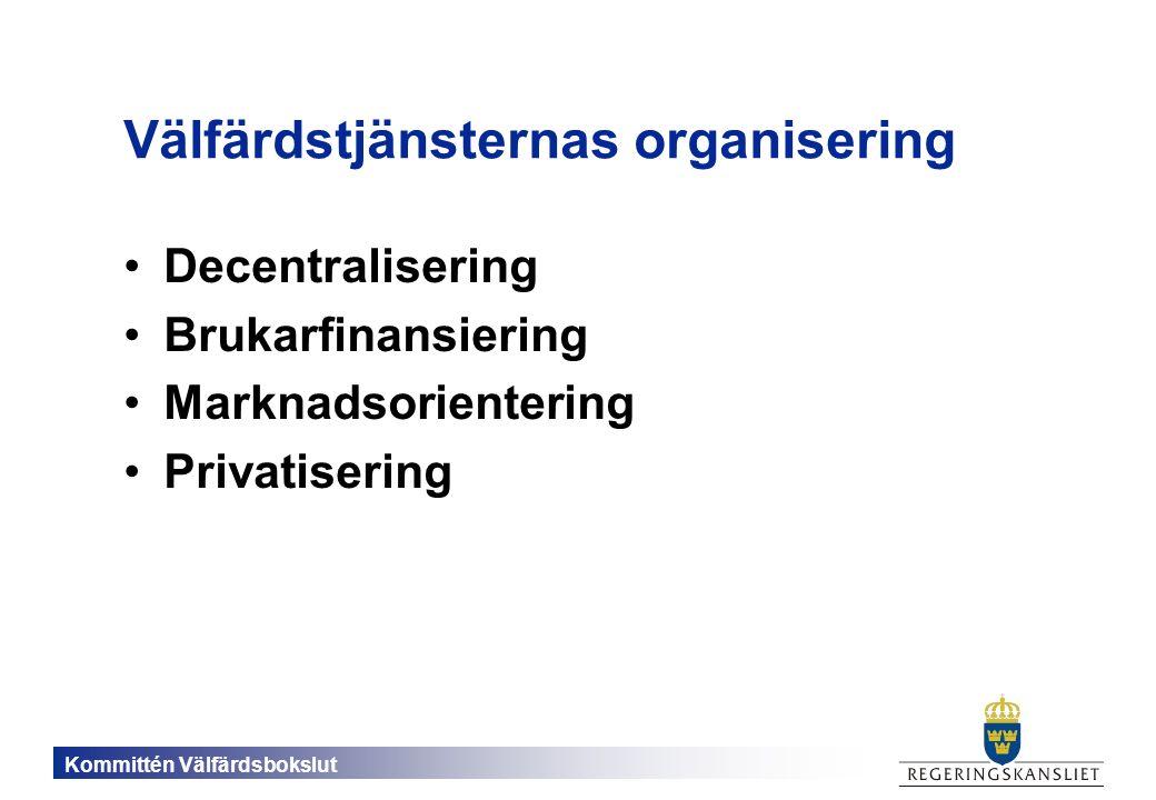 Kommittén Välfärdsbokslut Välfärdstjänsternas organisering Decentralisering Brukarfinansiering Marknadsorientering Privatisering