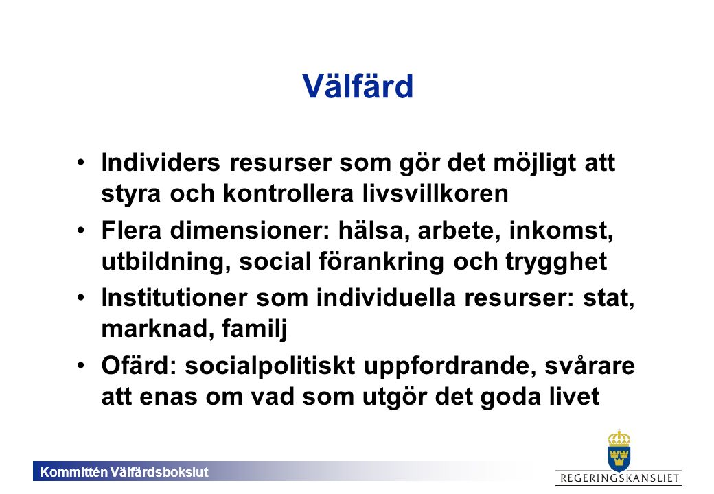 Kommittén Välfärdsbokslut Statens finansiella sparande (skillnader mellan inkomster och utgifter)