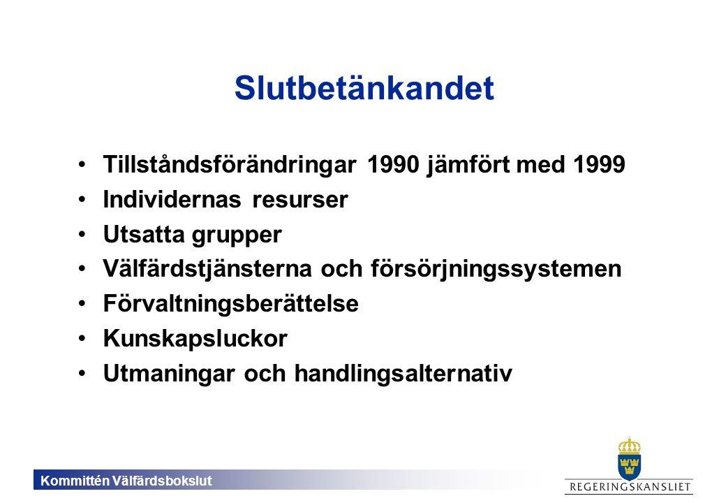 Kommittén Välfärdsbokslut Slutbetänkandet Tillståndsförändringar 1990 jämfört med 1999 Individernas resurser Utsatta grupper Välfärdstjänsterna och försörjningssystemen Förvaltningsberättelse Kunskapsluckor Utmaningar och handlingsalternativ