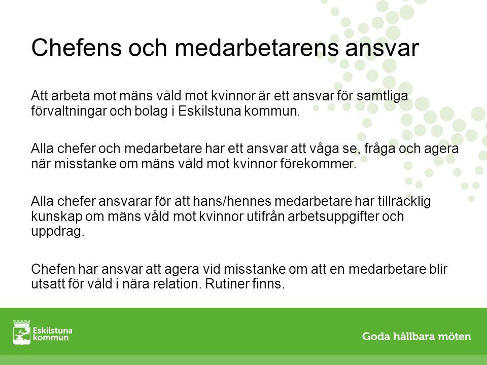 Chefens och medarbetarens ansvar Att arbeta mot mäns våld mot kvinnor är ett ansvar för samtliga förvaltningar och bolag i Eskilstuna kommun. Alla che