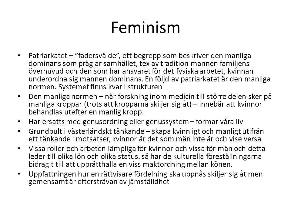 Feminism Patriarkatet – fadersvälde , ett begrepp som beskriver den manliga dominans som präglar samhället, tex av tradition mannen familjens överhuvud och den som har ansvaret för det fysiska arbetet, kvinnan underordna sig mannen dominans.