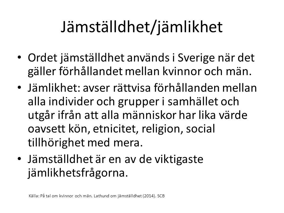 Jämställdhet/jämlikhet Ordet jämställdhet används i Sverige när det gäller förhållandet mellan kvinnor och män.
