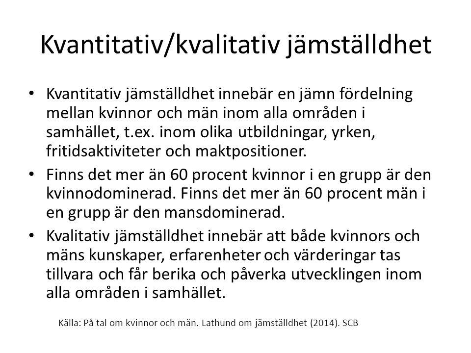 Svensk jämställdhetspolitik Det övergripande målet för jämställdhetspolitiken är att kvinnor och män ska ha samma makt att forma samhället och sina egna liv.
