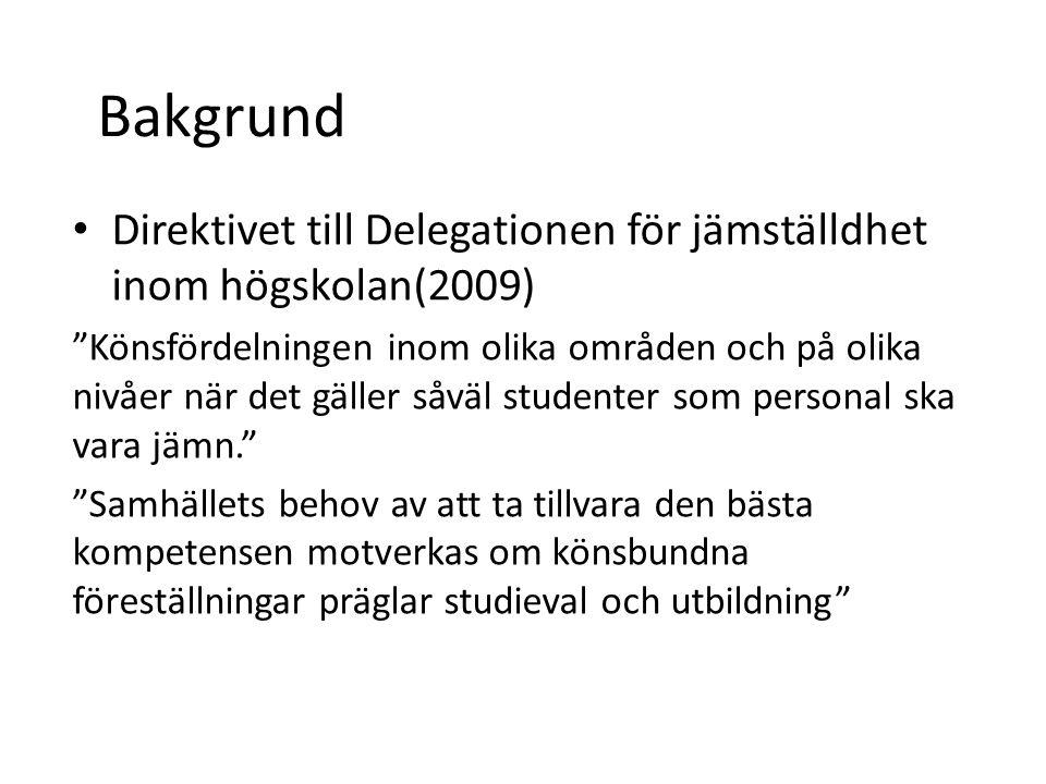 Bakgrund Direktivet till Delegationen för jämställdhet inom högskolan(2009) Könsfördelningen inom olika områden och på olika nivåer när det gäller såväl studenter som personal ska vara jämn. Samhällets behov av att ta tillvara den bästa kompetensen motverkas om könsbundna föreställningar präglar studieval och utbildning