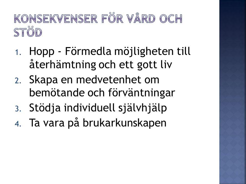 1. Hopp - Förmedla möjligheten till återhämtning och ett gott liv 2.