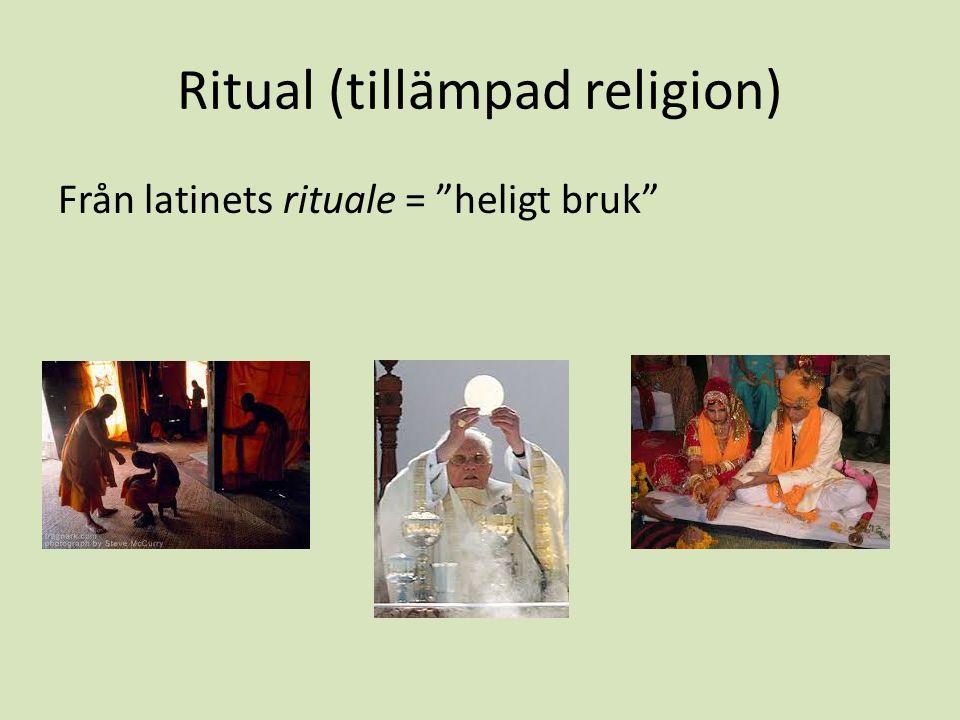 Ritual (tillämpad religion) Från latinets rituale = heligt bruk