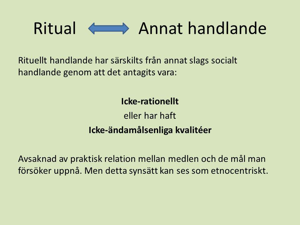 Ritual Annat handlande Rituellt handlande har särskilts från annat slags socialt handlande genom att det antagits vara: Icke-rationellt eller har haft Icke-ändamålsenliga kvalitéer Avsaknad av praktisk relation mellan medlen och de mål man försöker uppnå.