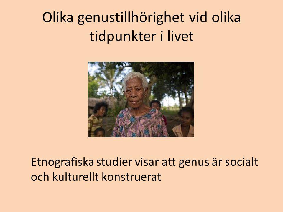 Olika genustillhörighet vid olika tidpunkter i livet Etnografiska studier visar att genus är socialt och kulturellt konstruerat