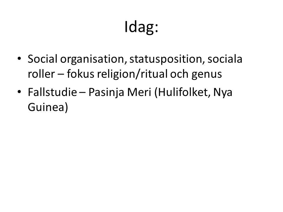 Idag: Social organisation, statusposition, sociala roller – fokus religion/ritual och genus Fallstudie – Pasinja Meri (Hulifolket, Nya Guinea)