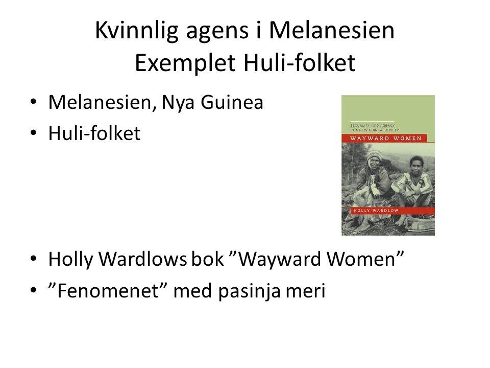 Kvinnlig agens i Melanesien Exemplet Huli-folket Melanesien, Nya Guinea Huli-folket Holly Wardlows bok Wayward Women Fenomenet med pasinja meri