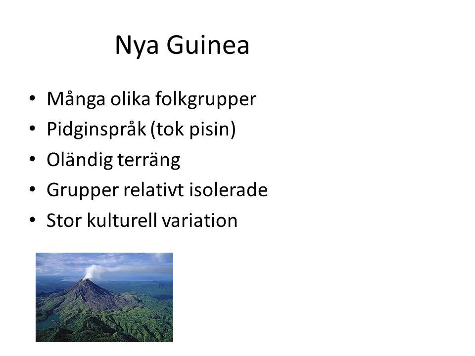 Nya Guinea Många olika folkgrupper Pidginspråk (tok pisin) Oländig terräng Grupper relativt isolerade Stor kulturell variation