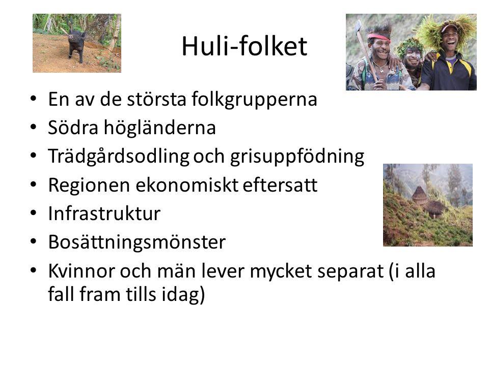 Huli-folket En av de största folkgrupperna Södra högländerna Trädgårdsodling och grisuppfödning Regionen ekonomiskt eftersatt Infrastruktur Bosättningsmönster Kvinnor och män lever mycket separat (i alla fall fram tills idag)