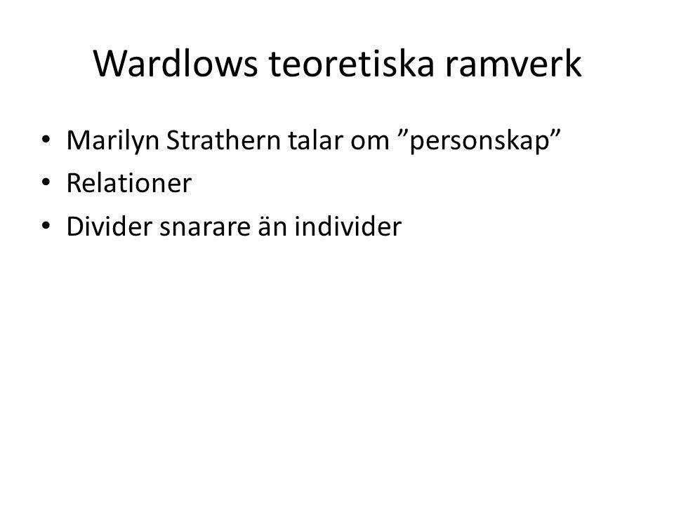 Wardlows teoretiska ramverk Marilyn Strathern talar om personskap Relationer Divider snarare än individer