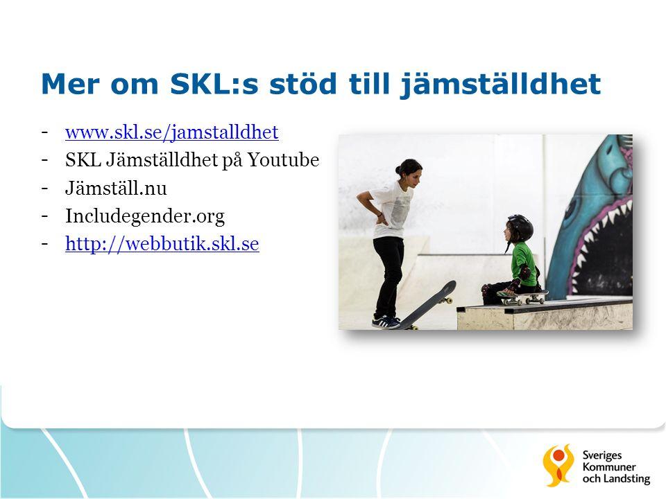Mer om SKL:s stöd till jämställdhet - www.skl.se/jamstalldhet www.skl.se/jamstalldhet - SKL Jämställdhet på Youtube - Jämställ.nu - Includegender.org - http://webbutik.skl.se http://webbutik.skl.se
