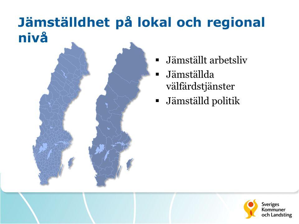 Jämställdhet på lokal och regional nivå  Jämställt arbetsliv  Jämställda välfärdstjänster  Jämställd politik
