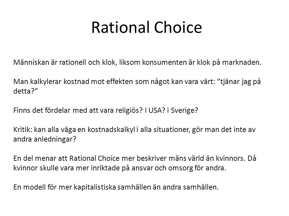 Rational Choice Människan är rationell och klok, liksom konsumenten är klok på marknaden.