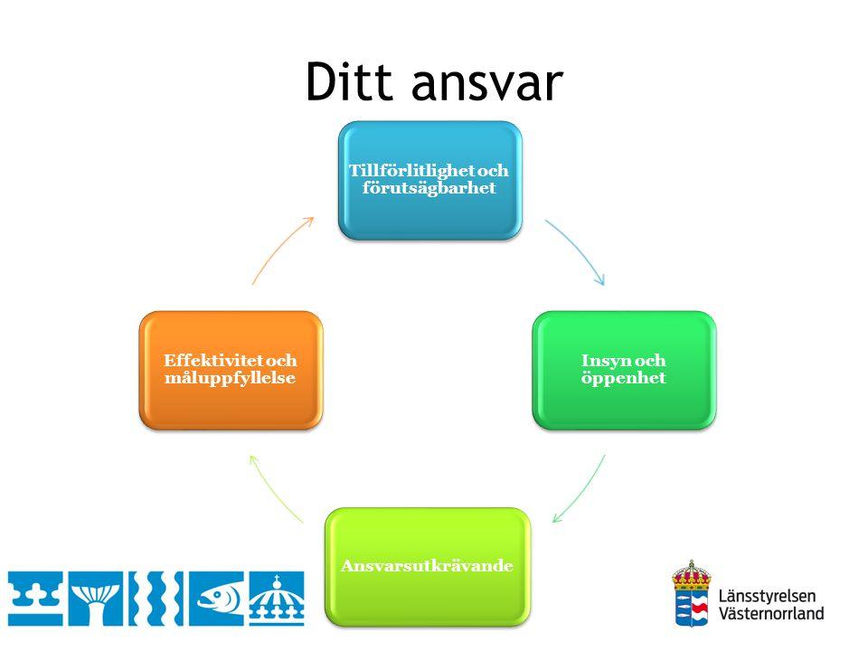 Ditt ansvar Tillförlitlighet och förutsägbarhet Insyn och öppenhet Ansvarsutkrävande Effektivitet och måluppfyllelse