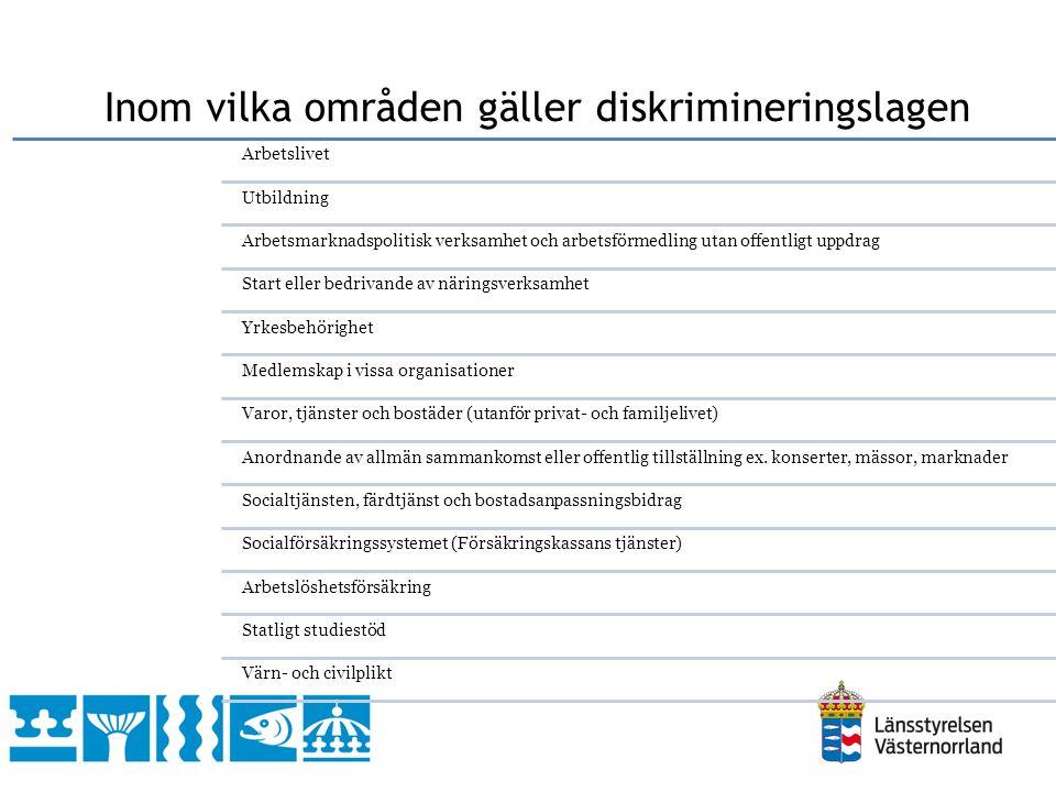 Direkt diskriminering Indirekt diskriminering Bristande tillgänglighet Trakasserier Sexuella trakasserier Instruktioner att diskriminera Hur kan man diskrimineras?