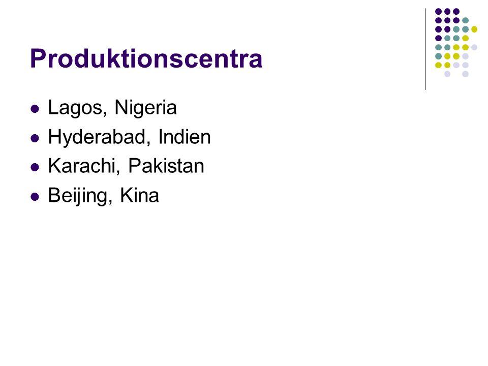 Produktionscentra Lagos, Nigeria Hyderabad, Indien Karachi, Pakistan Beijing, Kina