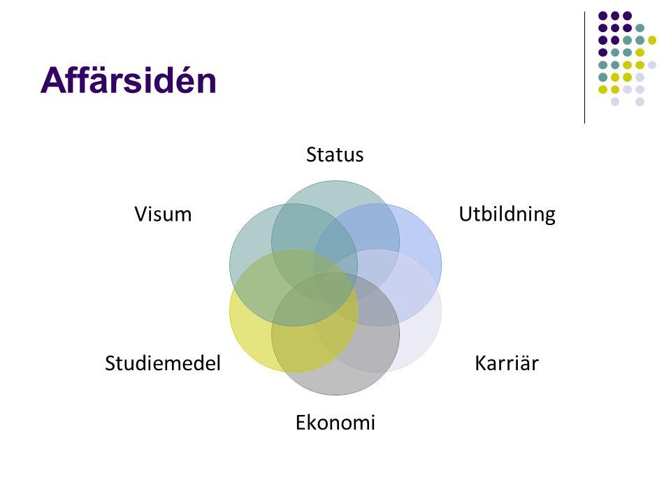 Affärsidén Status Utbildning Karriär Ekonomi Studiemedel Visum
